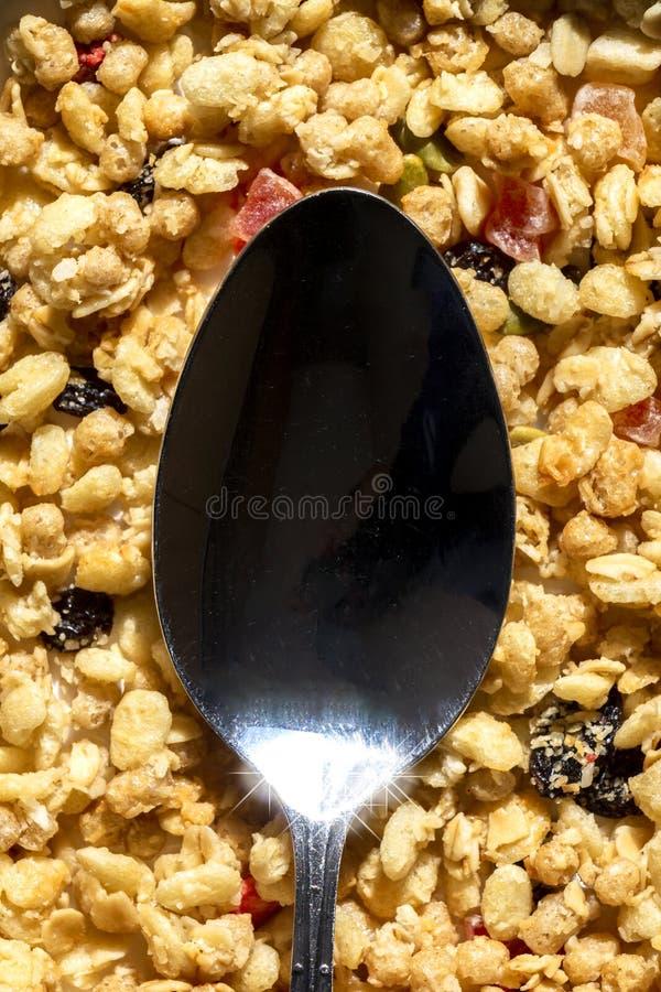 Здоровый завтрак с концепцией Mueslis стоковое изображение