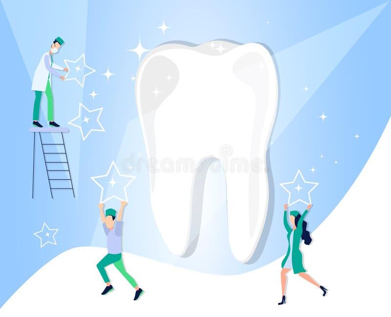 Здоровый зуб после обработки и зубоврачебной заботы Медицинское зубоврачевание направления бесплатная иллюстрация
