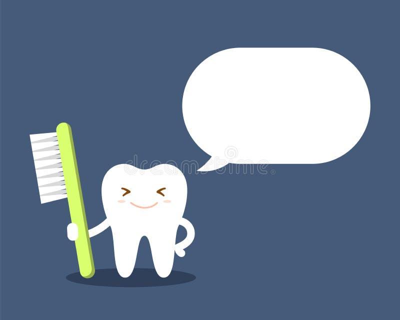 Здоровый зуб шаржа с зубной щеткой говорит о важности гигиены полости рта Белый зуб без костоеды плоско иллюстрация вектора