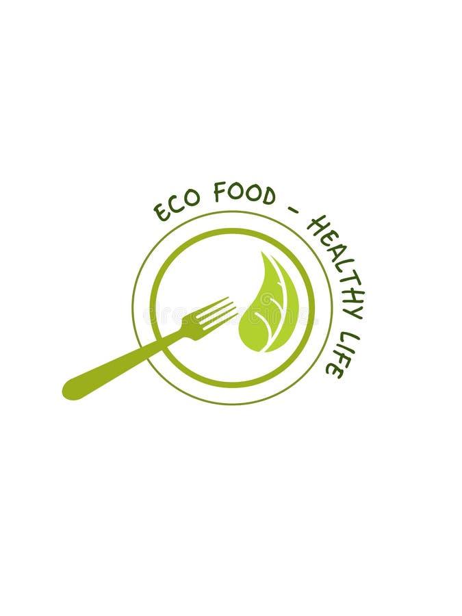 Здоровый логотип еды на белой предпосылке стоковое фото rf