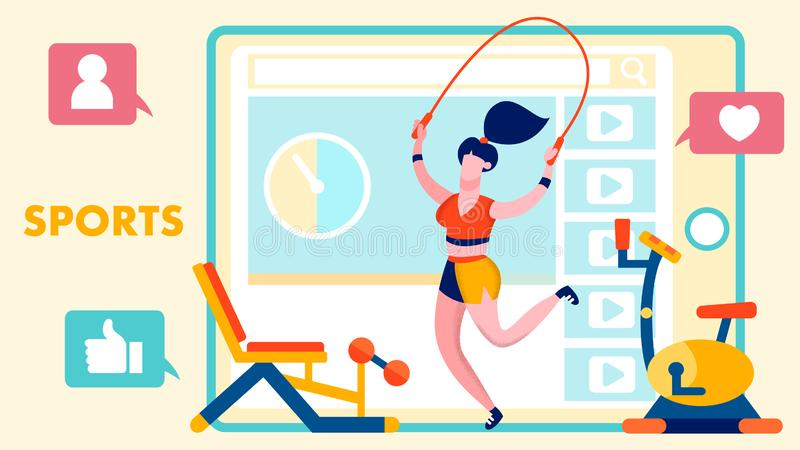 Здоровый образ жизни, иллюстрация блога фитнеса плоская иллюстрация штока