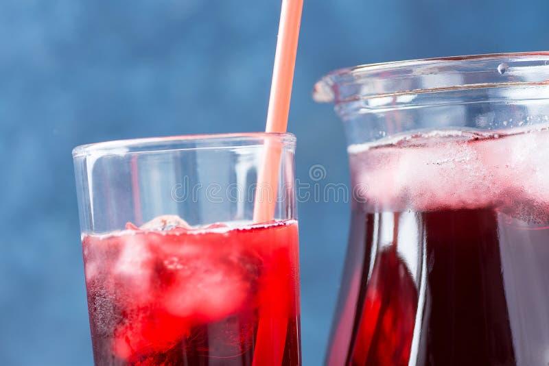 Здоровый освежающий напиток от ягод чая и красного цвета гибискуса льда и фруктового сока в кувшине и высокорослом стекле с солом стоковая фотография