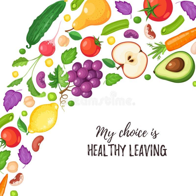 Здоровый плакат еды иллюстрация вектора
