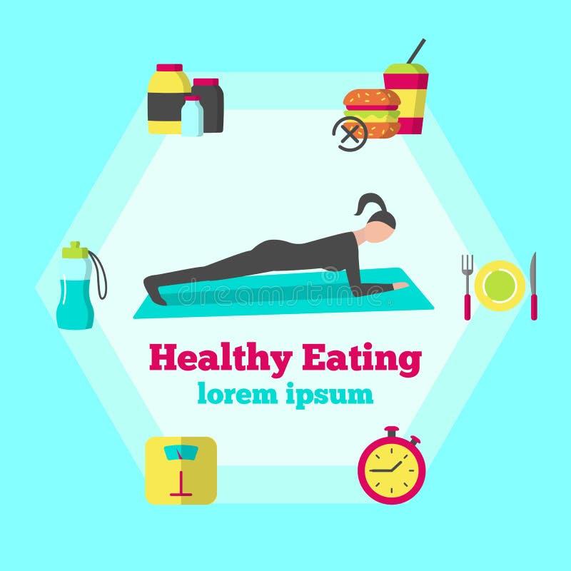 Здоровый плакат еды иллюстрация штока