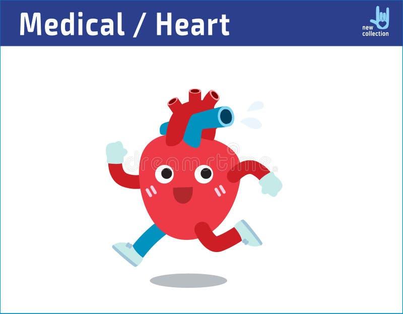 Здоровый работать сердца jogging и потеть иллюстрация вектора значка характера runningCartoon милая иллюстрация штока