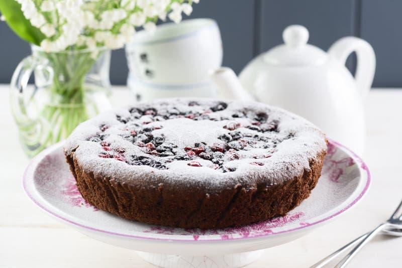 Здоровый светлый десерт Вкусный домодельный торт с flou вишни птицы стоковая фотография