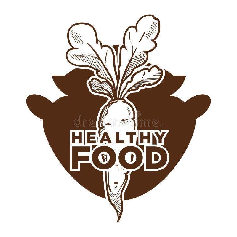 Здоровый эскиз еды с морковью и баком варить бесплатная иллюстрация