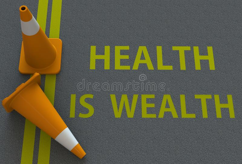 Здоровье богатство, сообщение на дороге иллюстрация вектора