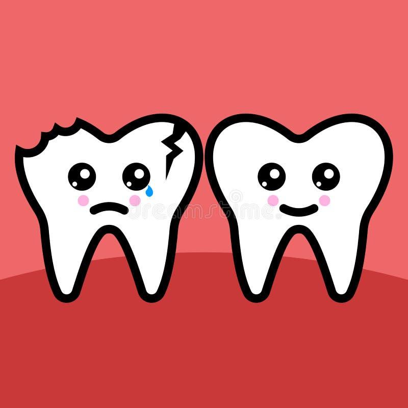 Здоровье и сломленная иллюстрация вектора зуба иллюстрация штока