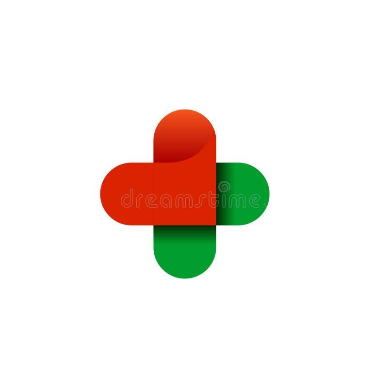 Здоровье логотипа перекрестное Логотип для клиники, фармацевтической компании и медицинского шкафа Вектор изолированный на белой  иллюстрация штока