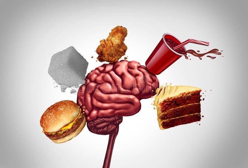 Здоровье мозга высококалорийной вредной пищи иллюстрация штока