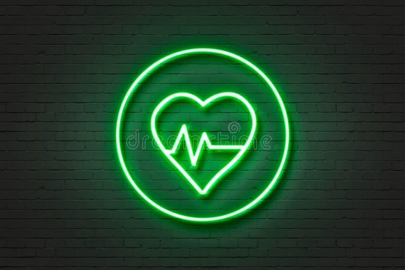 Здоровье сердца значка неонового света стоковая фотография