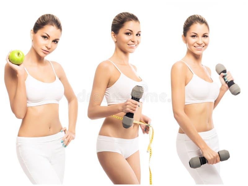 Здоровье, спорт, фитнес, питание, потеря веса, диета, здоровый коллаж образа жизни Красивая форма женского тела стоковое фото rf