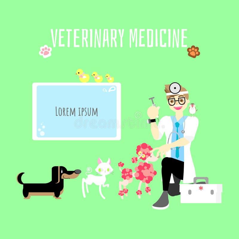 здравоохранение домашнего животного ветеринарной медицины милое с доктором дает вакционную впрыску собаке сосиски и пуделя, коту, иллюстрация вектора