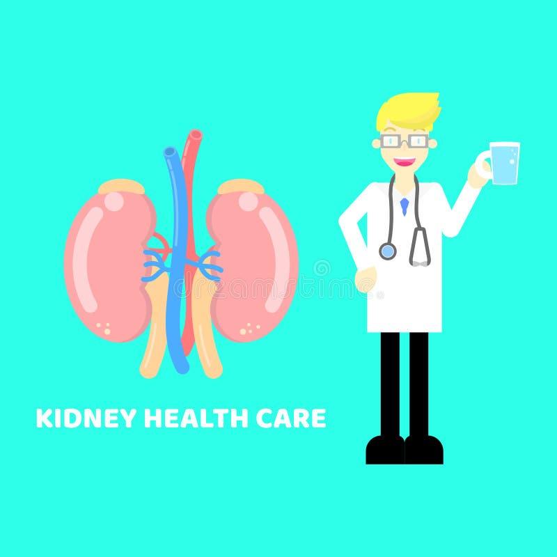 Здравоохранение почки с доктором, стетоскопом держа чашку воды в cyan предпосылке бесплатная иллюстрация