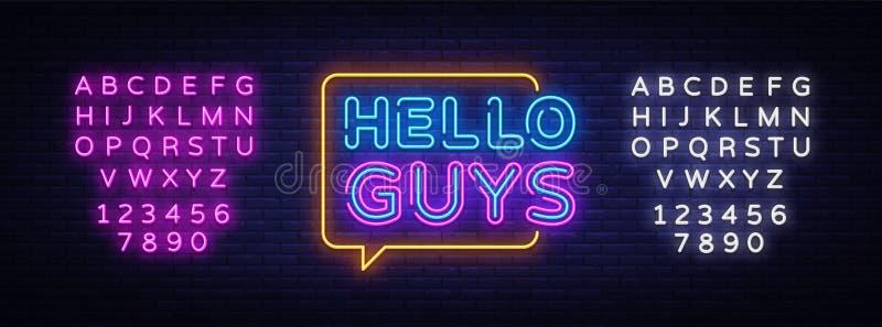 Здравствуйте вектор текста парней неоновый Ведя блог неоновая вывеска, шаблон дизайна, современный дизайн тенденции, шильдик ночи иллюстрация вектора