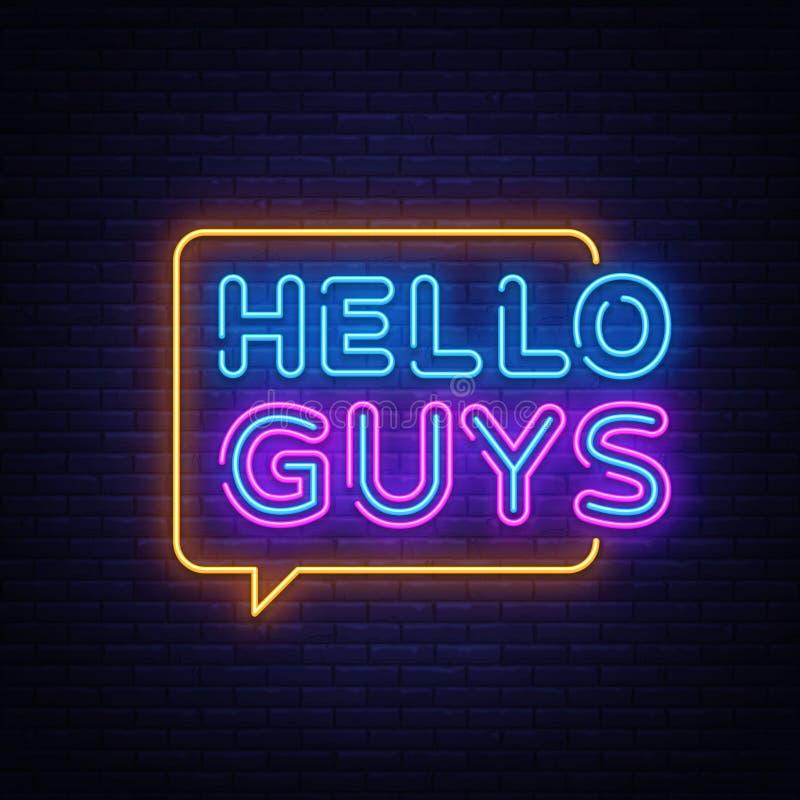 Здравствуйте вектор текста парней неоновый Ведя блог неоновая вывеска, шаблон дизайна, современный дизайн тенденции, шильдик ночи бесплатная иллюстрация