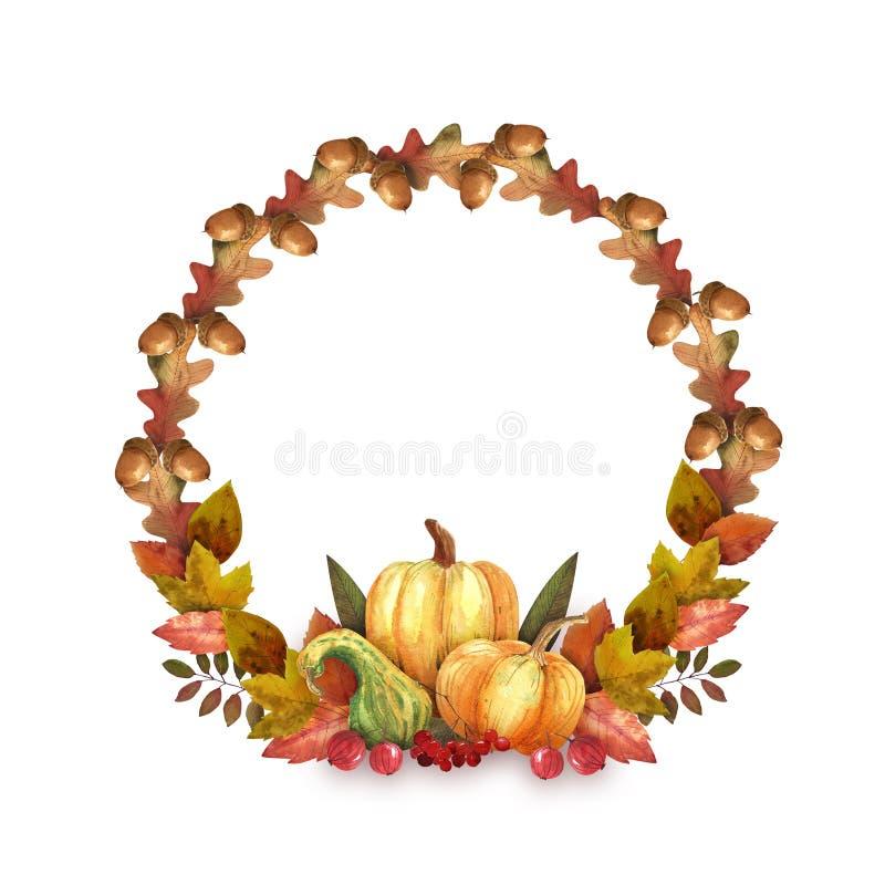 Здравствуйте венок осени Нарисованная рука акварели выходит, тыквы и жолуди стоковое фото