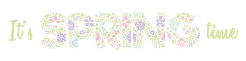 Здравствуйте! весна - знамя при текст сделанный из нарисованной руки цветет стоковая фотография rf