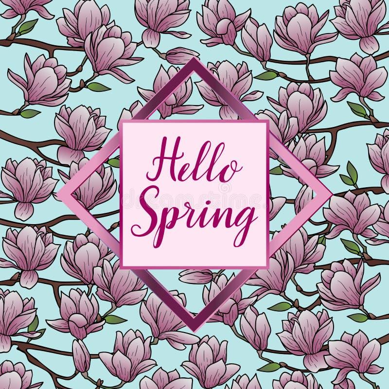 Здравствуйте! весна с открыткой магнолии иллюстрация штока