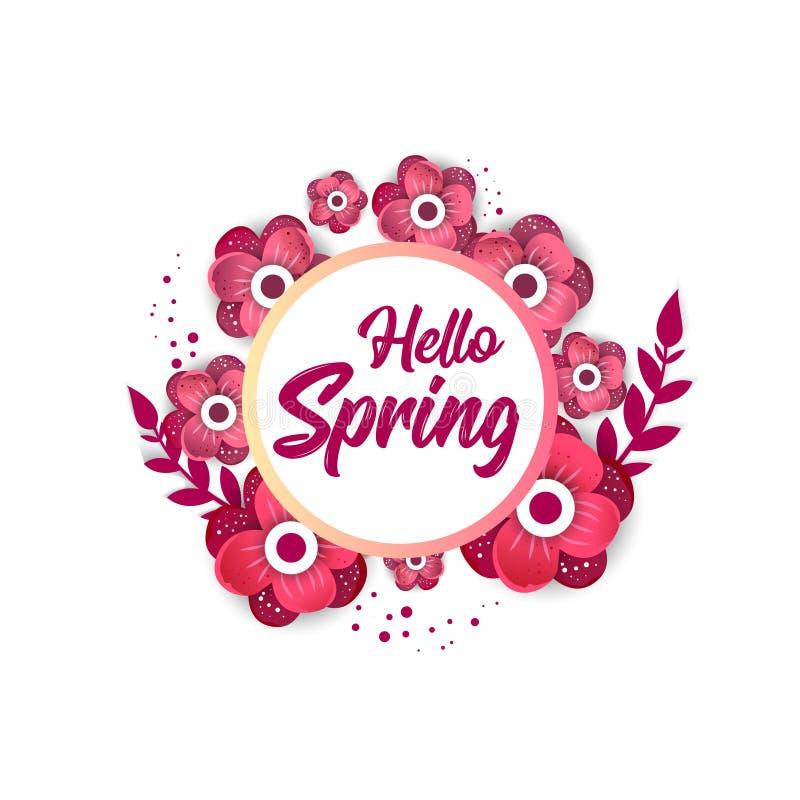 Здравствуйте! знамя концепции весны с цветками иллюстрация вектора