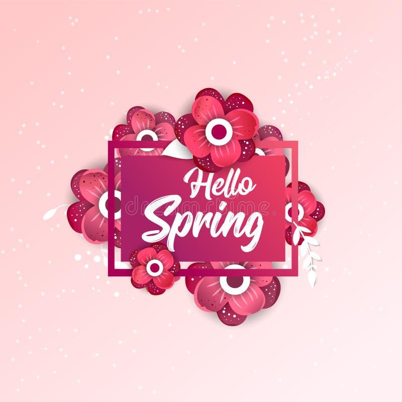 Здравствуйте! знамя концепции весны с цветками бесплатная иллюстрация