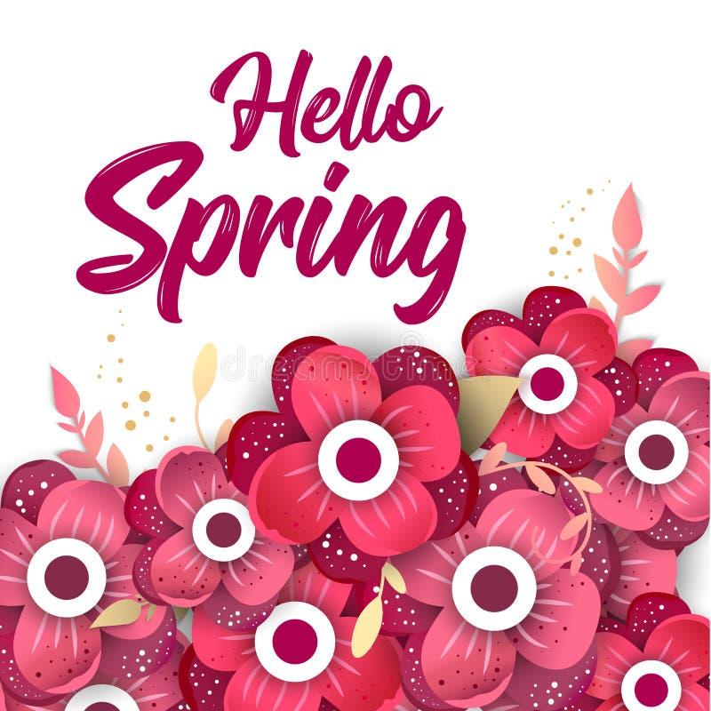 Здравствуйте! знамя концепции весны с цветками иллюстрация штока