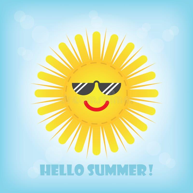 Здравствуйте! значок emoji солнца лета усмехаясь желтый с солнечными очками бесплатная иллюстрация