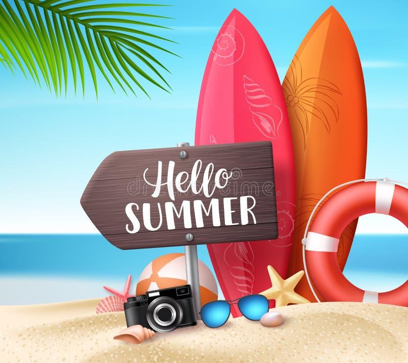 Здравствуйте идея проекта вектора лета Деревянная доска знака со здравствуйте элементами текста и пляжа лета бесплатная иллюстрация
