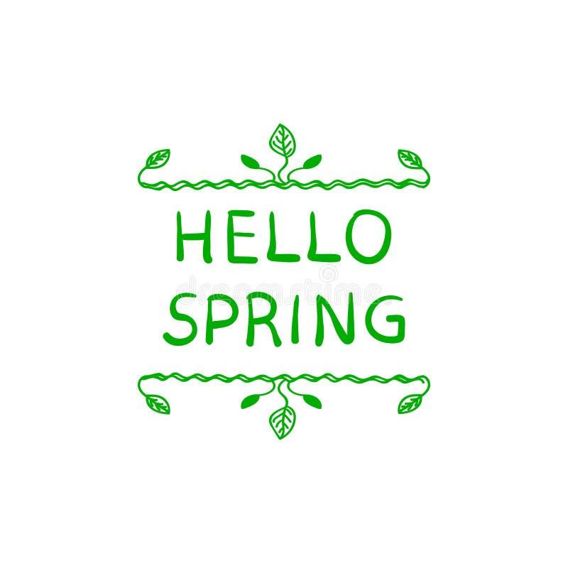 Здравствуйте! иллюстрация ВЕКТОРА весны нарисованная рукой, милая флористическая рамка изолированная на белой предпосылке иллюстрация вектора