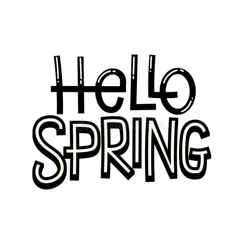 Здравствуйте! карточка весны с элементами и литерностью нарисованными рукой Callig иллюстрация вектора