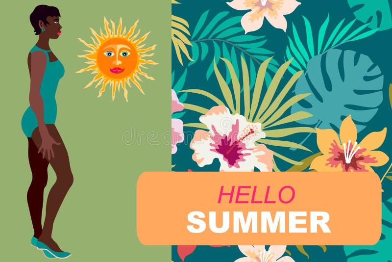 Здравствуйте! карточка лета Молодая черная девушка в бикини и тропической флористической предпосылке Конструируйте для карточек,  иллюстрация штока