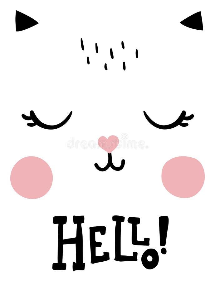 Здравствуйте! кот иллюстрация штока