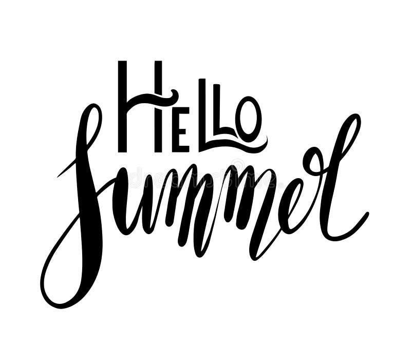 Здравствуйте лето, рукописная литерность Положительная цитата для воодушевленности Элемент каллиграфии вектора иллюстрация вектора