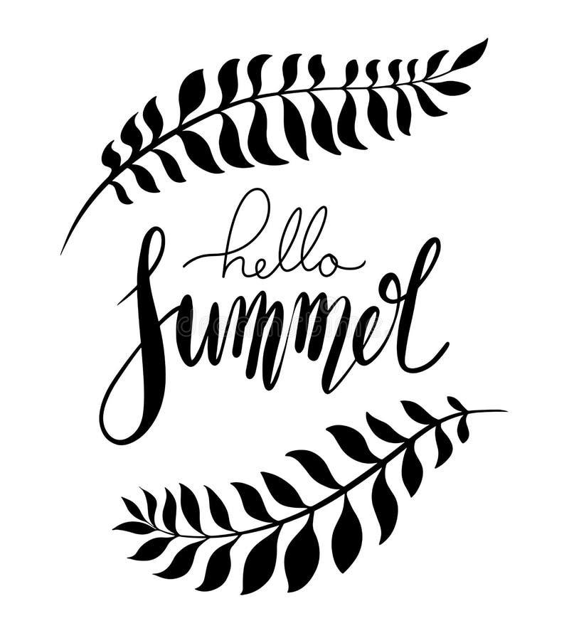 Здравствуйте лето, рукописная литерность с ветвями ладони Положительная цитата для воодушевленности Элемент вектора бесплатная иллюстрация
