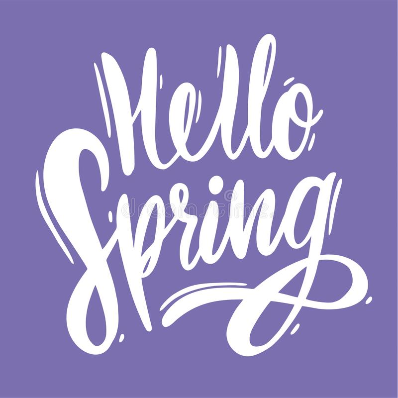 Здравствуйте литерность вектора руки весны вычерченная Изолированный на фиолетовой предпосылке также вектор иллюстрации притяжки  иллюстрация штока