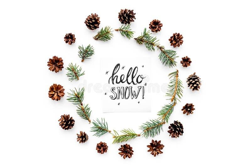 Здравствуйте! литерность руки снега Картина зимы с pinecones и елевая ветвь на белом взгляд сверху предпосылки стоковая фотография