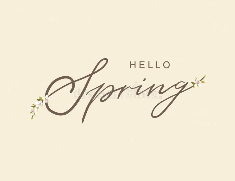 Здравствуйте нарисованная рука оформления весны помечающ буквами плакат с оформлением рамки цветка Иллюстрация вектора на день же иллюстрация штока