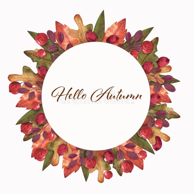 Здравствуйте осень Венок акварели бесплатная иллюстрация