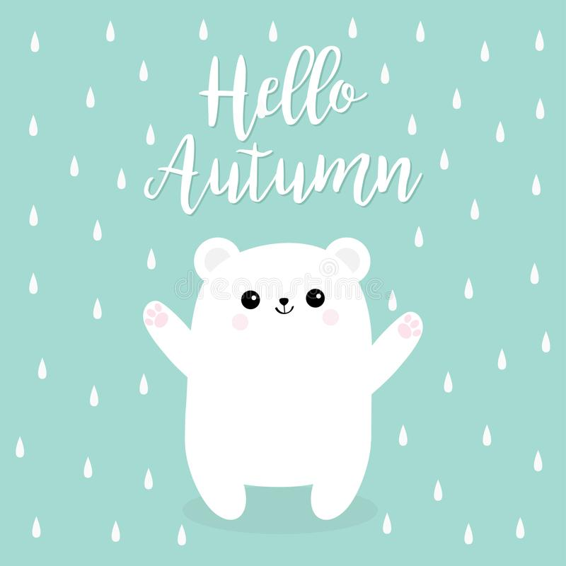 Здравствуйте! осень Идите дождь падение Приполюсный белый малый новичок медвежонка иллюстрация штока