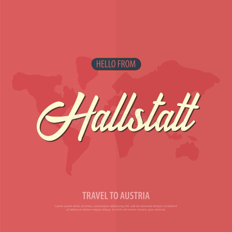 Здравствуйте! от Hallstatt Перемещение к Австрии Touristic поздравительная открытка также вектор иллюстрации притяжки corel иллюстрация штока