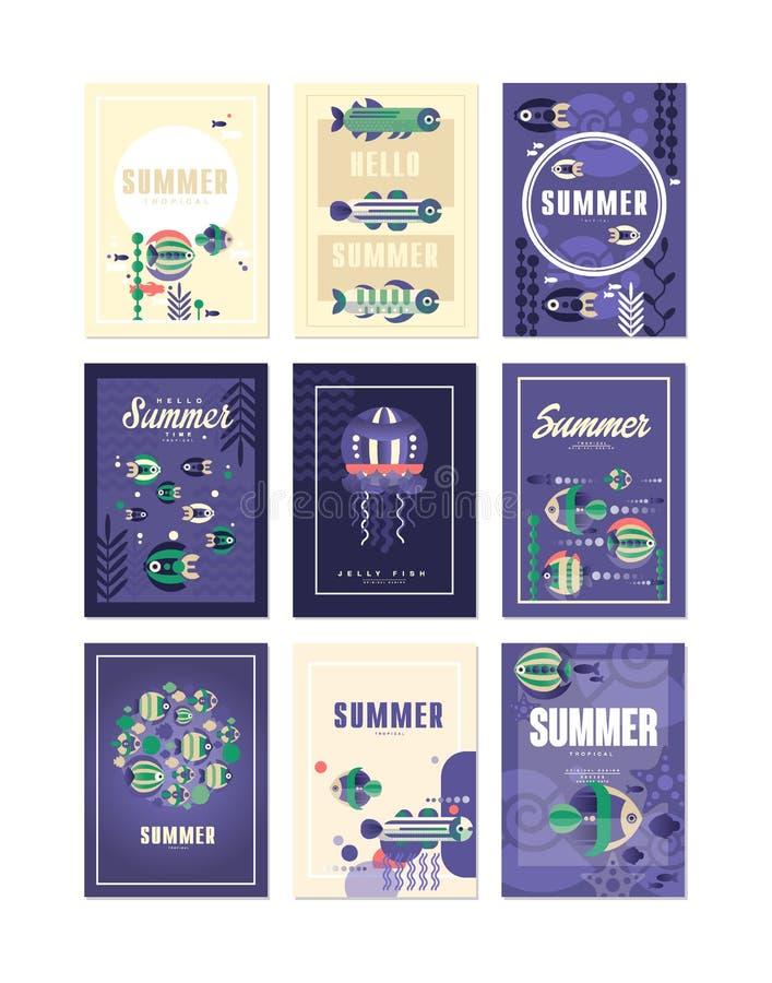 Здравствуйте!, поздравительные открытки лета установили, праздники, иллюстрации вектора перемещения и рыбной ловли, элемент дизай бесплатная иллюстрация