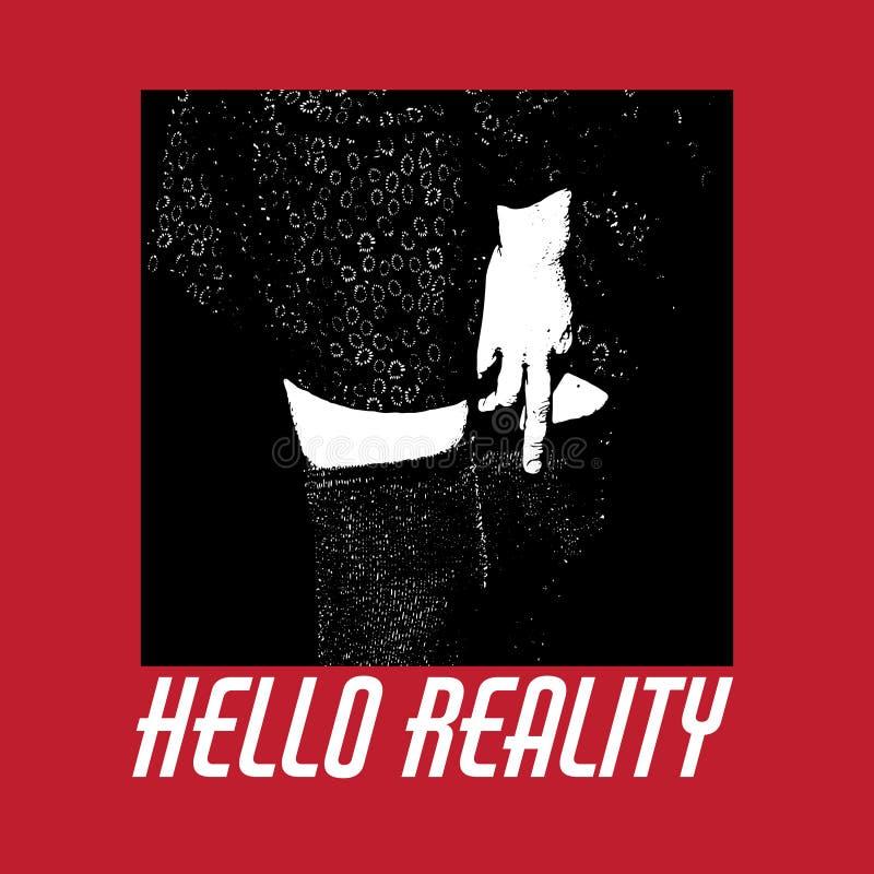 Здравствуйте! реальность Предпосылка цитаты типографская иллюстрация штока
