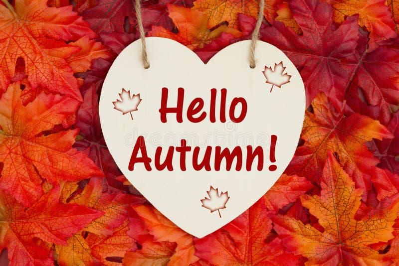 Здравствуйте сообщение осени с листьями падения стоковое фото rf