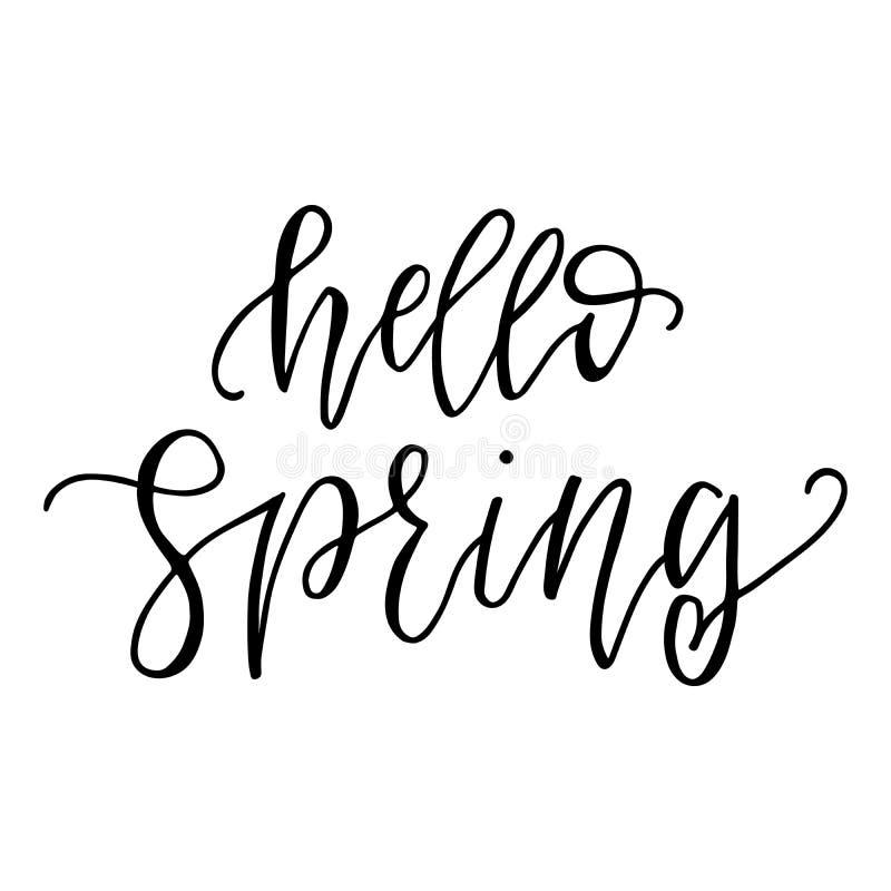 Здравствуйте текст цитаты сезона весны вдохновляющий Каллиграфия, дизайн литерности Оформление для поздравительной открытки, плак бесплатная иллюстрация