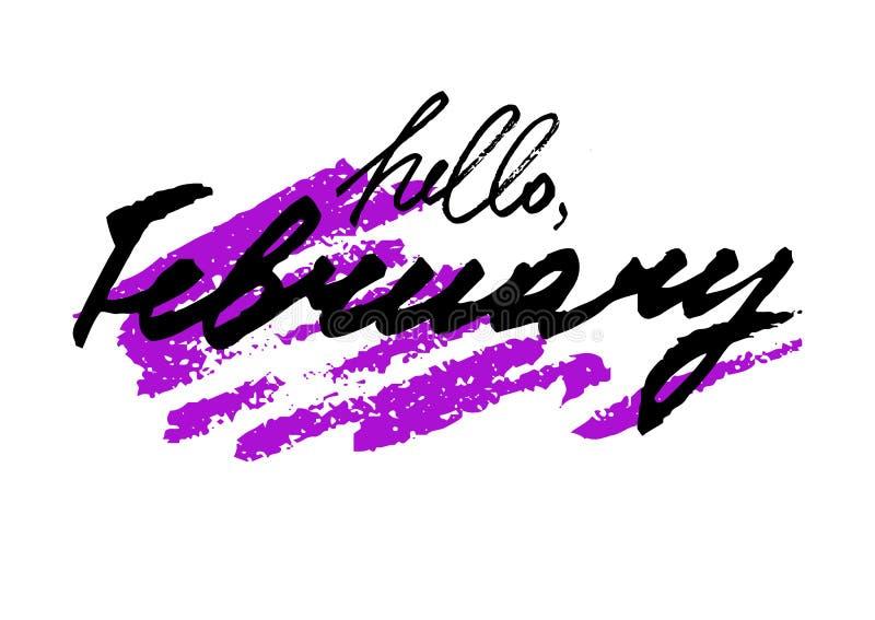 Здравствуйте! февраль Литерность нарисованная рукой стоковые изображения