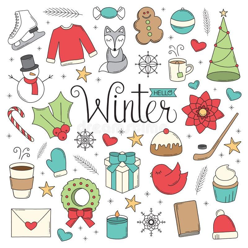 Здравствуйте! doodles зимы стоковое фото rf