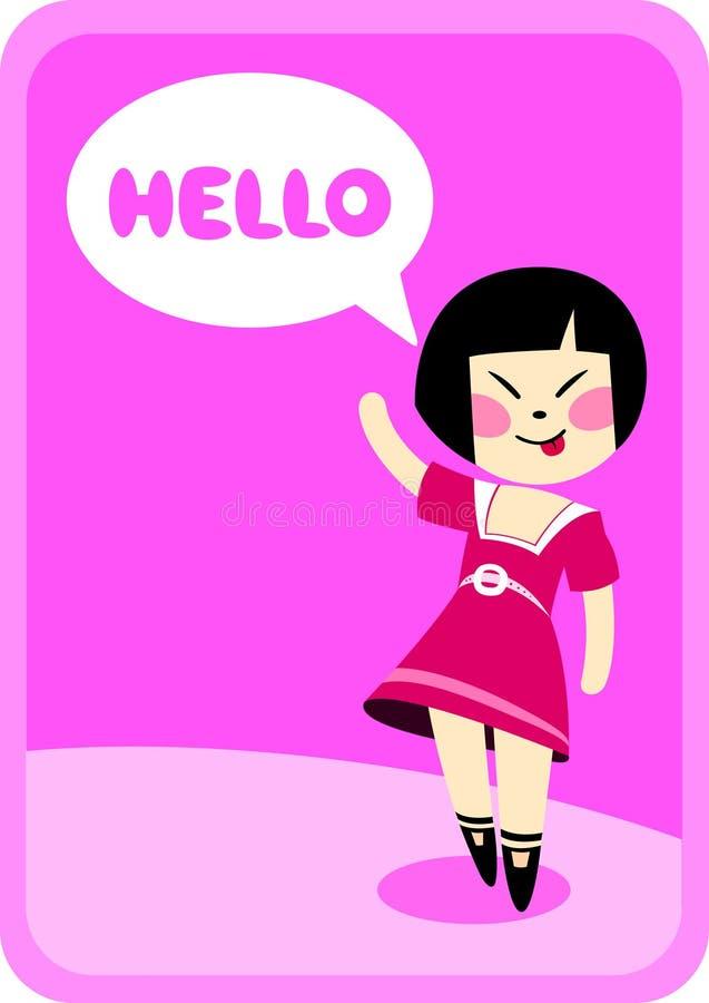 Здравствулте! от маленькой девочки иллюстрация штока