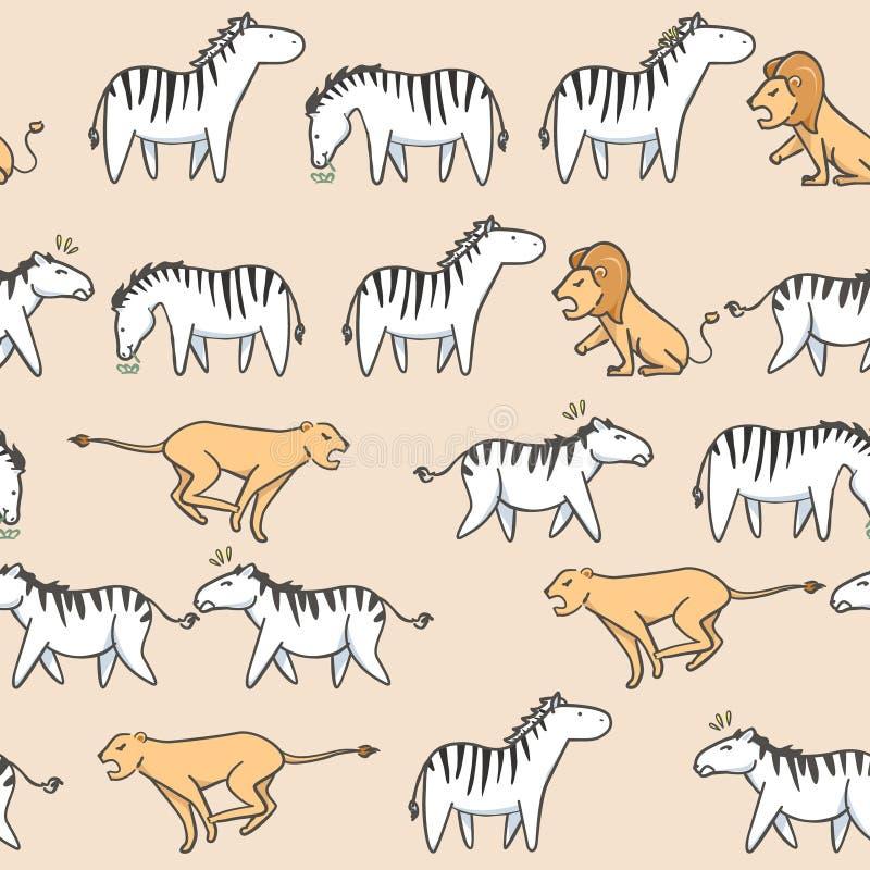 Зебра безшовной картины милая, тигр и шарж льва с стилем нарисованным рукой иллюстрация вектора