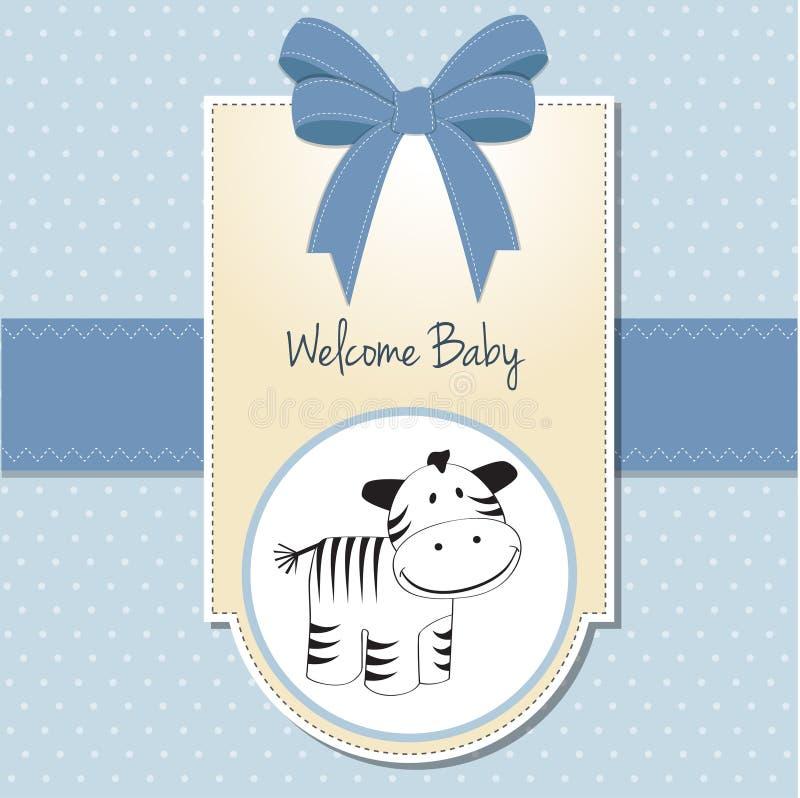 зебра ливня карточки младенца милая иллюстрация штока